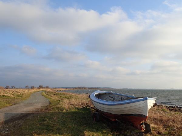 Skarø島、小舟のある風景