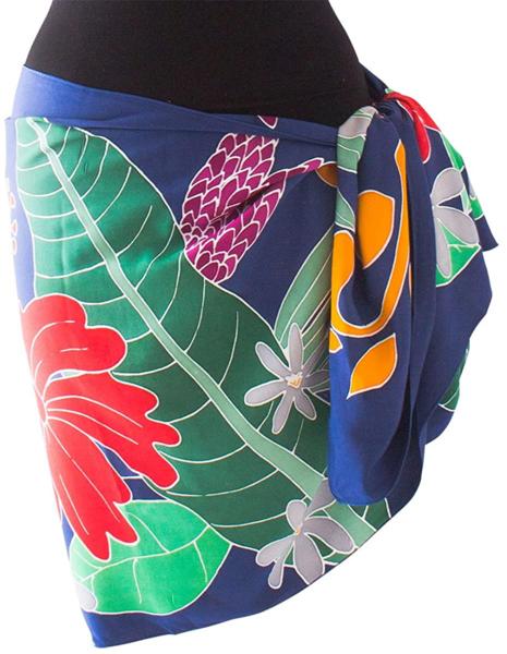高品質な手染めのパレオ ショート ハーフ タヒチアン レーヨン